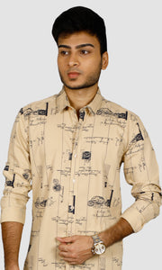 Men Postal Printed  Slim Fit Casual Shirts