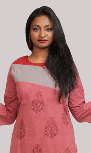 Women Pink Layered Daily Wear Kurti