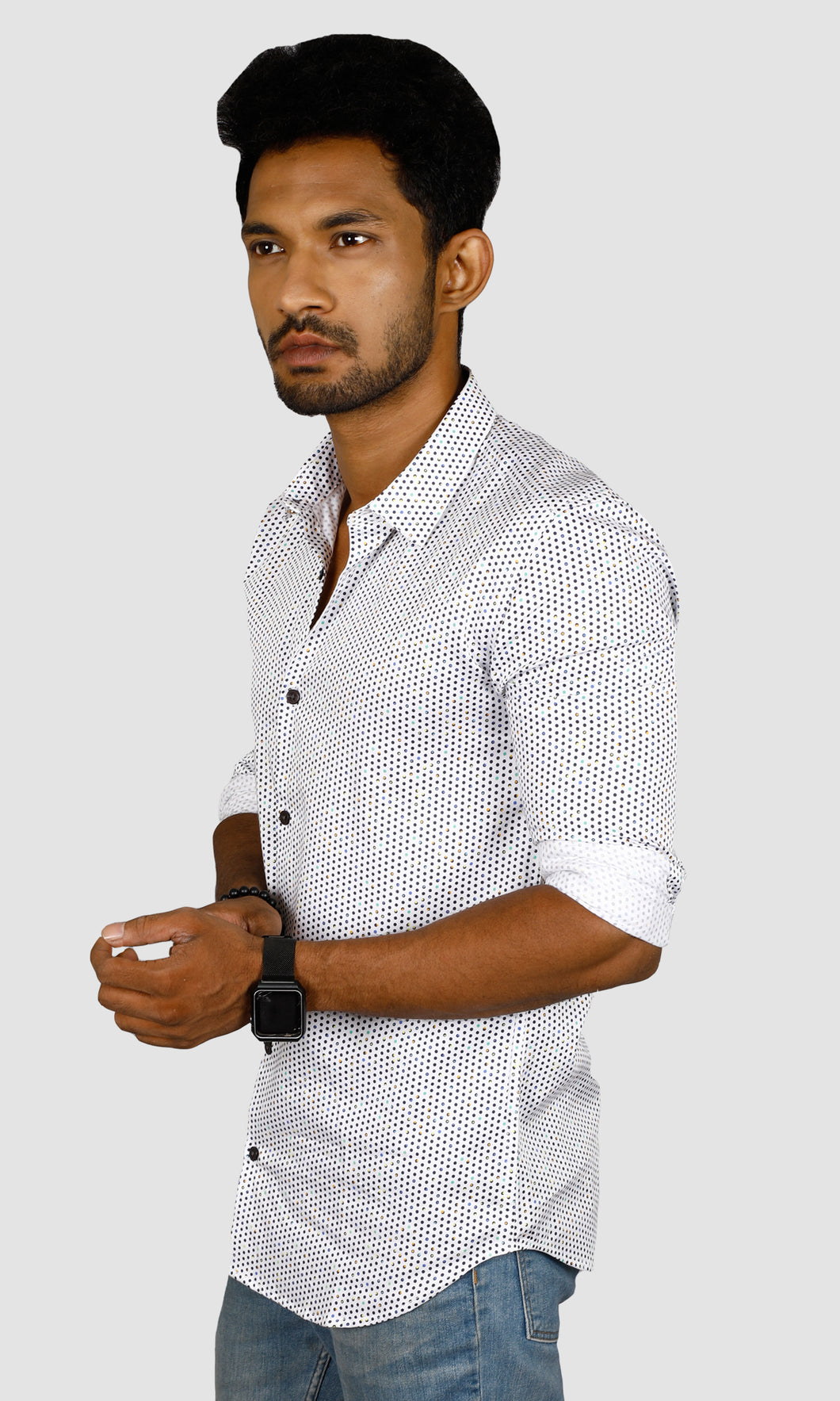 Men Dotted Print Slim Fit Casual Shirts