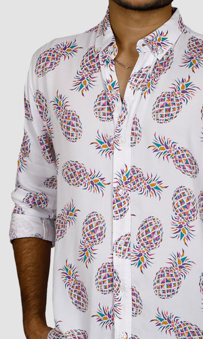 Men Pineapple Printed Slim Fit Casual Shirts