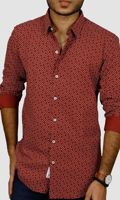 Men Maroon Polka Dots Casual Shirts