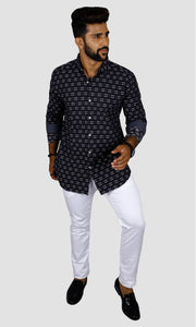 Men Dotted Stripped Slim Fit Casual Shirts