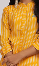 Load image into Gallery viewer, Women Yellow Striped Daily Wear Kurti