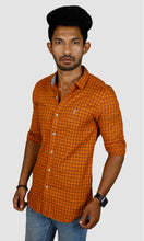 Load image into Gallery viewer, Men Orange Brown Checked Slim Fit Casual Shirts