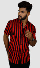 Load image into Gallery viewer, Men Red Black Striped Casual Shirts