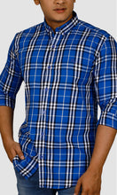 Load image into Gallery viewer, Men Double Checked Slim Fit Casual Shirts