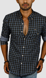 Men Blue Black Checked Casual Shirts