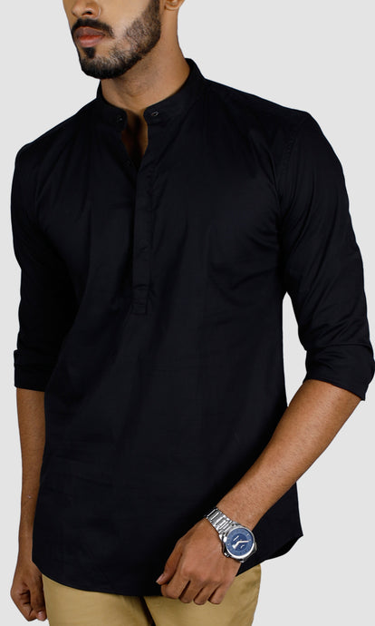 Men Dark Blue Chinese Collar Casual Shirts