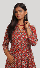 Load image into Gallery viewer, Red with multi colored block prints Kurti
