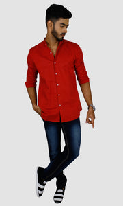 Men Maroon Solid Slim Fit Casual Shirts
