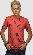 Load image into Gallery viewer, Men Faded Red XO Graphic Printed Casual T Shirts