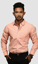 Load image into Gallery viewer, Men Orange Cotton Silm Fit Casual Shirts