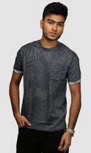 Load image into Gallery viewer, Men Dark Grey Clustered Leaf Printed Cotton Casual T shirts