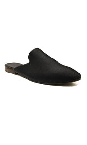Men Black Slip-on Mules