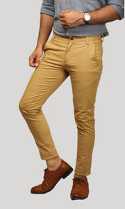 Men Khaki Ankle Length Chinos