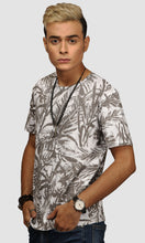 Load image into Gallery viewer, Men White Clustered Leaves Printed Cotton T shirts