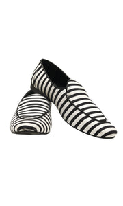 Men Black and White Loafers