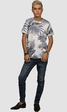 Load image into Gallery viewer, Men White Leaf Printed Cotton Casual T shirts