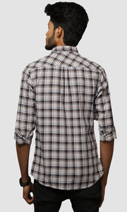 Men Brown Jacquard Checked Cotton Casual Shirts