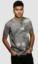 Load image into Gallery viewer, Men Dark Grey Beach Printed Cotton Casual T Shirts