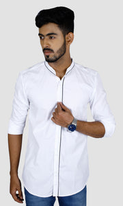 Men Solid Piping Cotton Slim Fit Casual Shirts