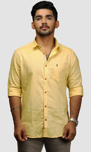 Men Yellow Cotton Slim Fit Casual Shirts