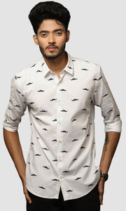 Men Mustache Printed Casual Shirts
