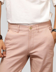 Men Peach Linen Regular Fit Chinos