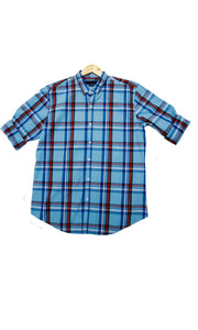 Men Checked Light Blue Slim Fit Casual Shirts