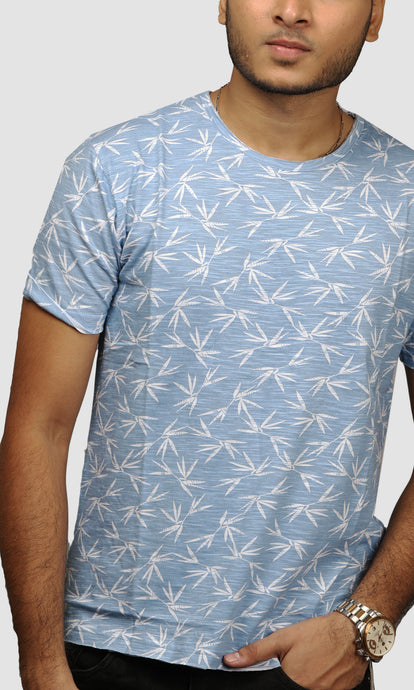 Men Sky Blue Leaf Printed Cotton Casual T shirt