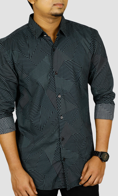 Men Asymmetrical Striped Slim Fit Casual Shirts