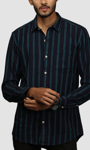 Men Double Striped Cotton Casual Shirts