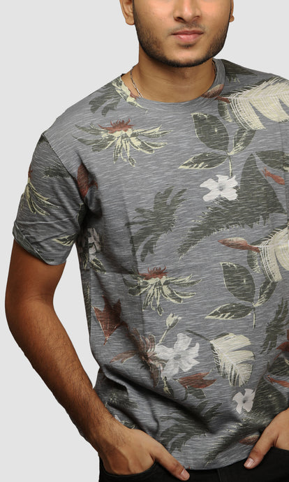 Men Dark Grey Beach Printed Cotton Casual T Shirts