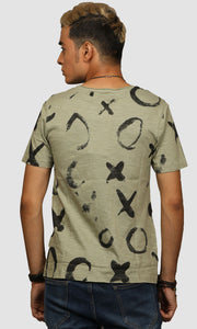 Men Faded Green XO Graphic Printed Cotton Casual T shirts