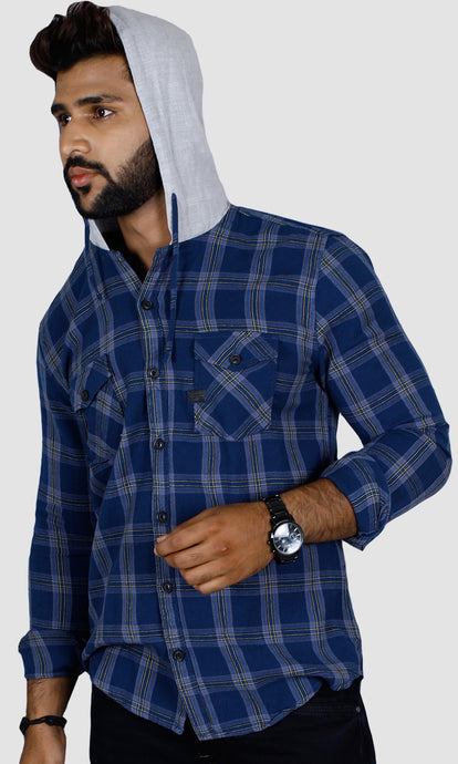 Men Hood Slim Fit Casual Shirts