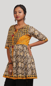 Yellow and black kalakari dothi Kurti Set