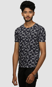 Men Dark Blue Leaf Printed Cotton Casual T shirts
