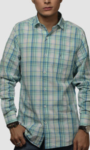 Men Green Madras Checked Cotton Casual Shirts