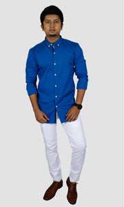 Men Solid Cotton Slim Fit Casual Shirts