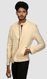 Men Yellow Solid Linen Jackets