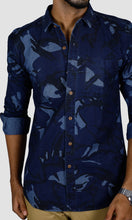 Load image into Gallery viewer, Men Dark Blue Denim Slim Fit Casual Shirts