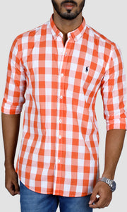 Men Orange White Checked Slim Fit Casual Shirts