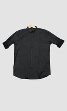 Load image into Gallery viewer, Men Black Grey Stripped Slim Fit Casual Shirts