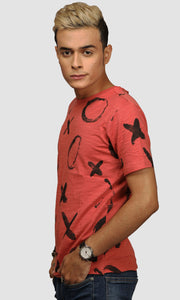 Men Faded Red XO Graphic Printed Casual T Shirts