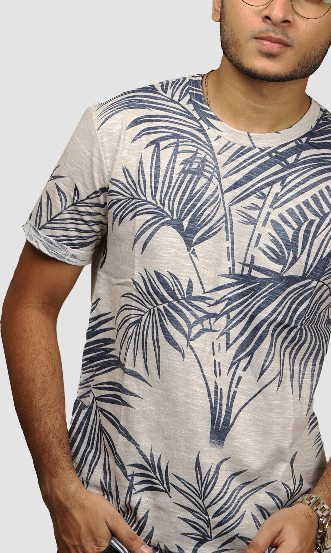 Men Faded Grey Leaf Printed Cotton Casual T shirts