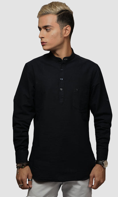 Men Dark Blue Chinese Collar Cotton Kurta Shirts