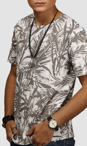 Men White Clustered Leaves Printed Cotton T shirts