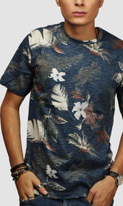 Men Dark Green Beach Printed Cotton Casual T shirts