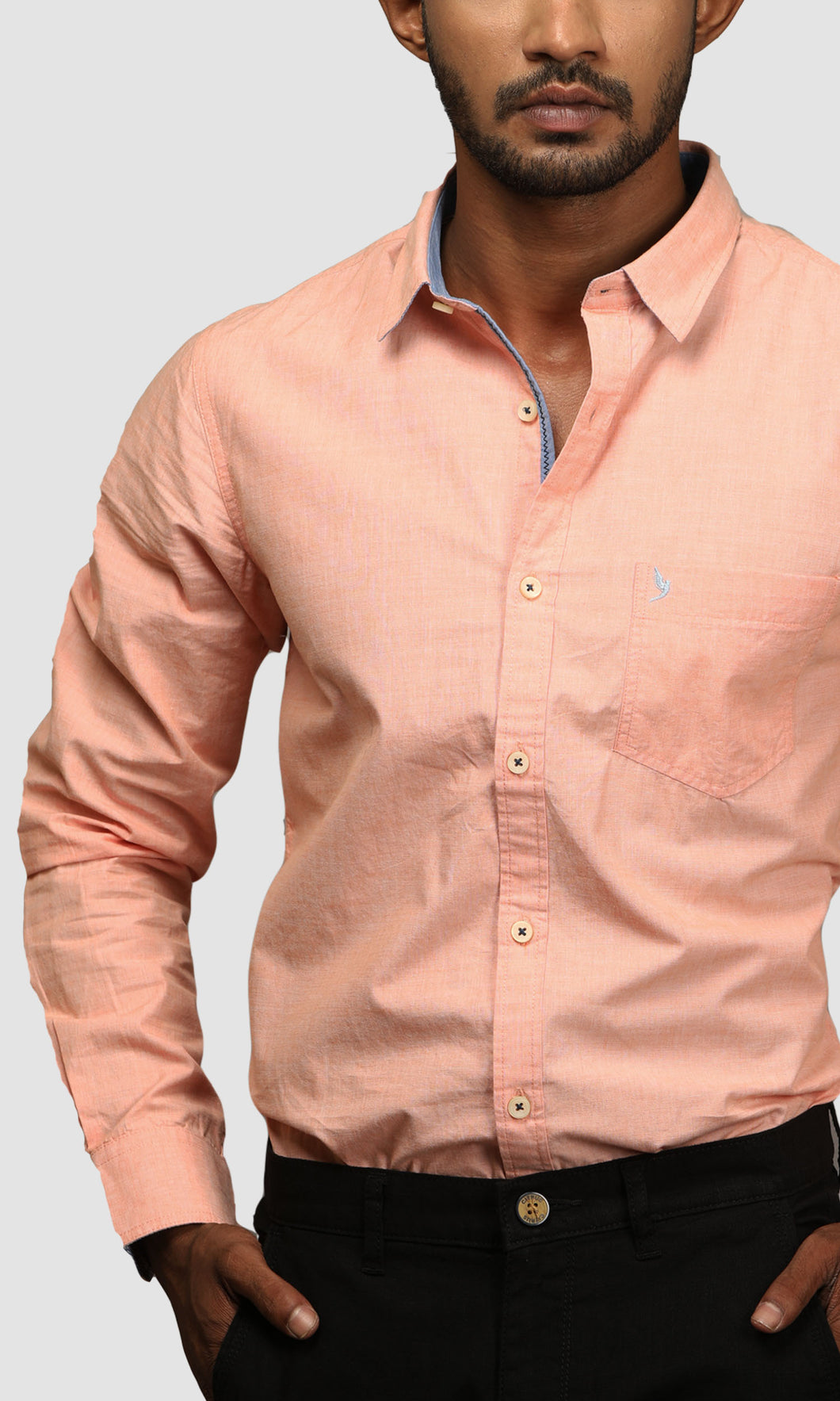 Men Orange Cotton Silm Fit Casual Shirts