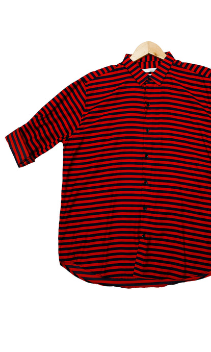 Men Red Stripped Slim Fit Casual Shirts